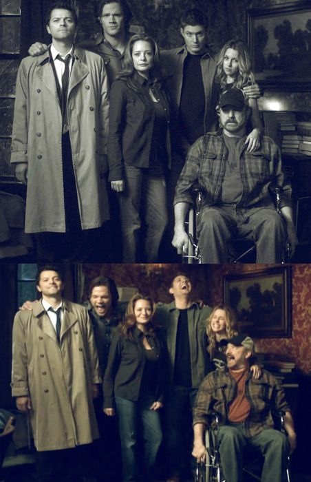 Supernatural - Misha Collins, Jared Padalecki, Samantha Ferris, Jensen Ackles, Jim Beaver and Alona Tal