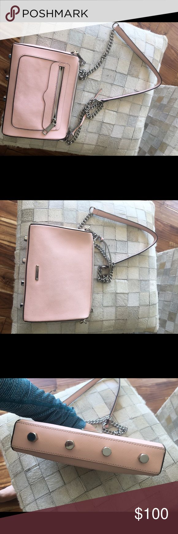 Rebecca minkoff purse Pink and sliver with tassel on top zipper ! Rebecca Minkoff Bags Crossbody Bags
