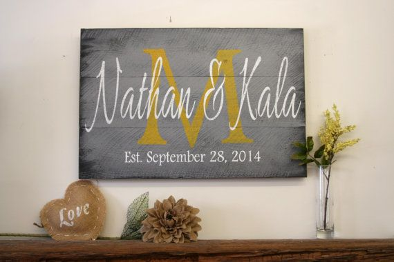 Personalized Name Sign Custom Name Sign Family Name Sign Wedding Anniversary Distressed Wood Rustic Shabby Chic Cottage Chic Gray And Yellow