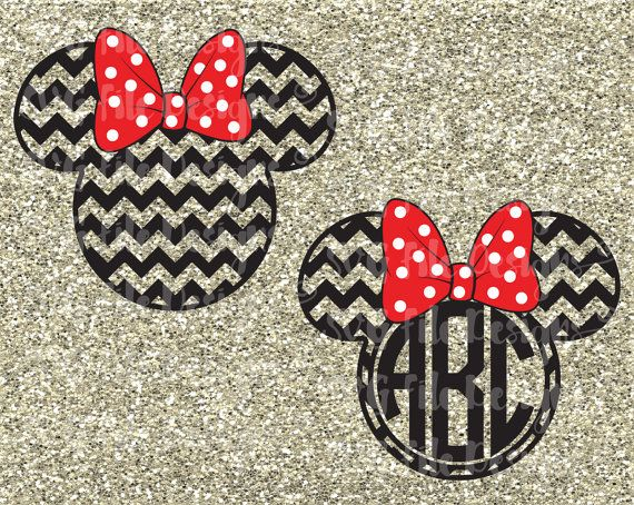 Minnie Mouse Chevron Monogram Ears with Polka Dot Bow Disney Layered Cutting File / Clipart in Svg Eps Dxf Jpeg for Cricut & Silhouette