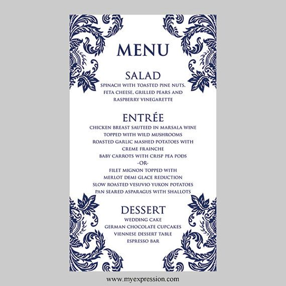 17 best Wedding Menu Templates images on Pinterest Wedding menu - free word menu template