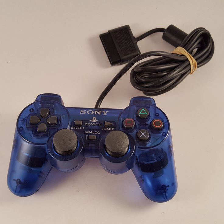Official PlayStation 2 Dual Shock Controller PS2 Sony Genuine Ocean Clear Blue #Sony
