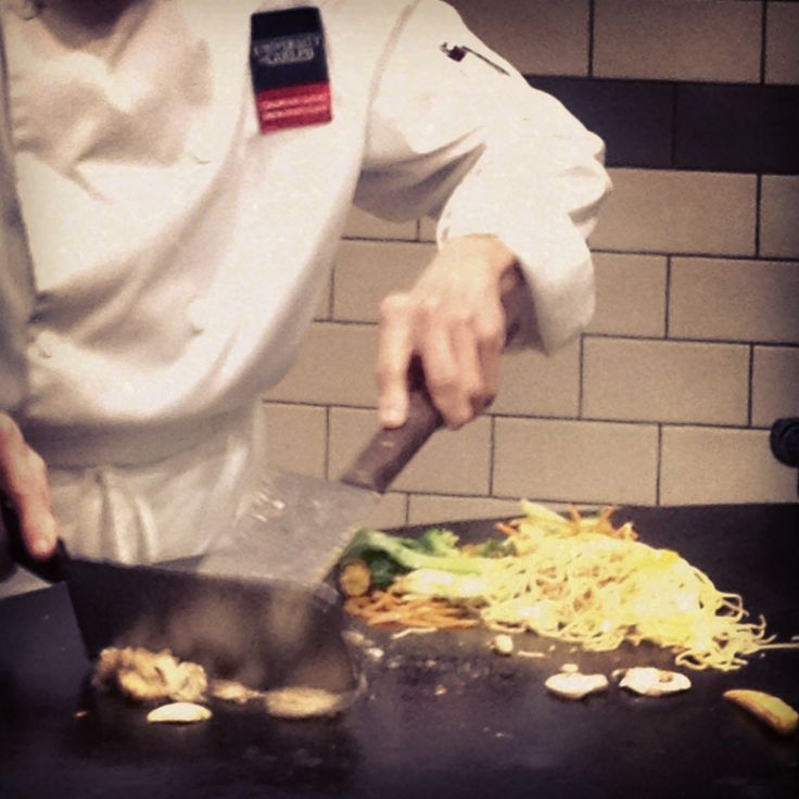 At the Mongolian Grill, you can watch your stir fry get cooked right in front of you. Build your own bowl, our chefs cook it, you eat it!