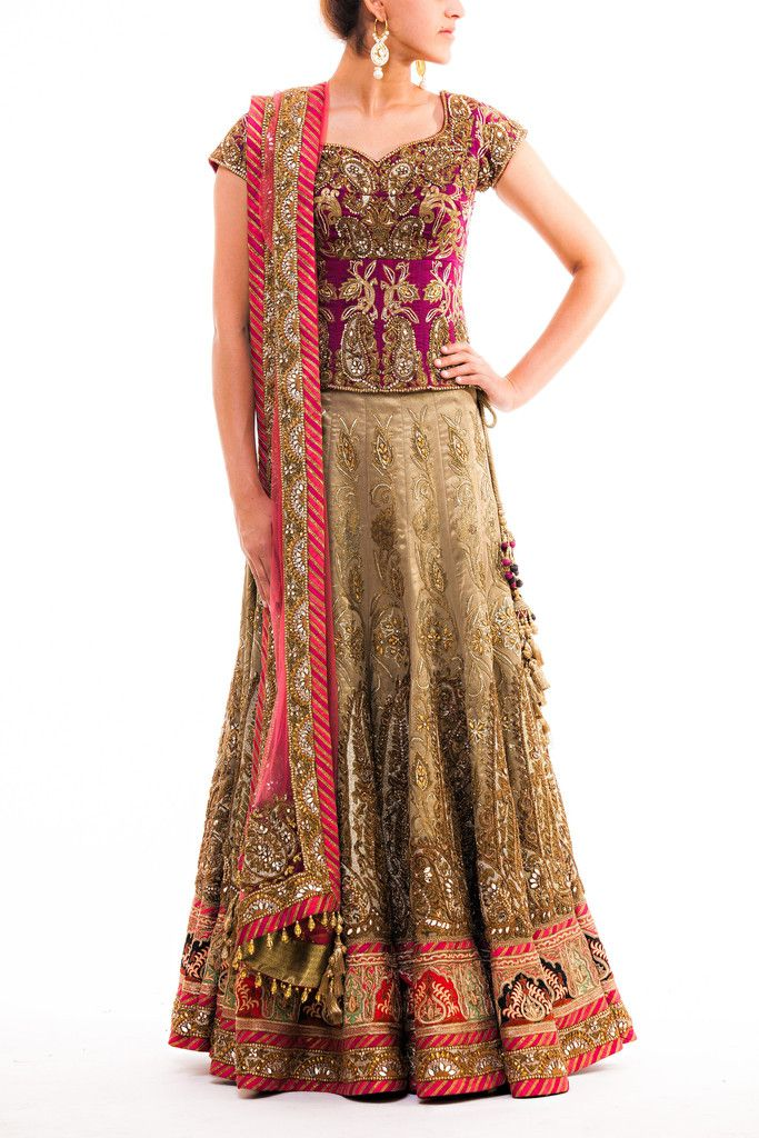 This antique inspired lehenga has 14 panels with dense gold zardozi embroidery and borders with parsi work inspired by the persian artwork. The colors used in this exquisite lehenga are deep plum for the blouse, grape green for the lehenga and coral for the dupatta, a perfect blend that creates a wearable art piece.