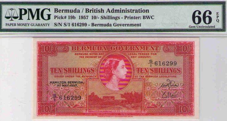 Bermuda / British Administration, Pick#19b 1957 10/- Shillings PMG 66 GEM UNCIRC