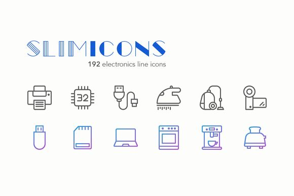 Electronics Line Icons - Slimicons by Dreamstale on @creativemarket