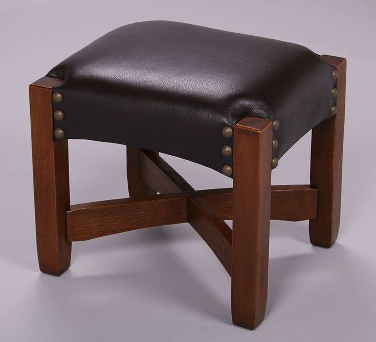 "Extremely rare Gustav Stickley ""Eastwood"" footstool.  Unsigned. Original finish.  This is the most desirable Gustav Stickley footstool.  20″w  x 17″d x 18″h"