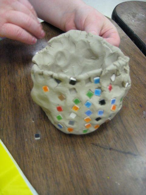 Add mosaic tiles to pinch pot, fire, then glaze