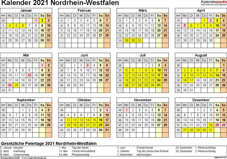 jahresplaner 2021 NRW - Google-Suche   Kalender ...