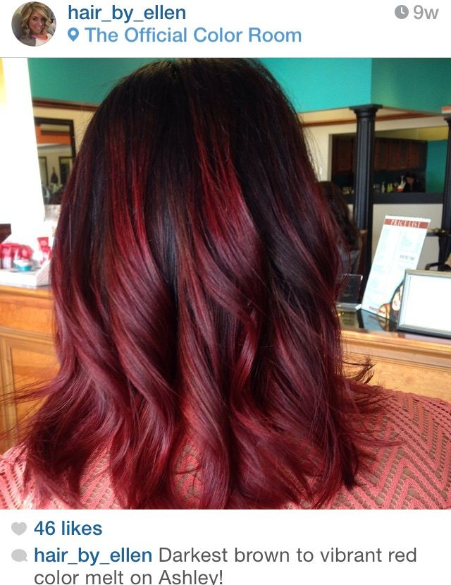Darkest brown to vibrant red color melt hair_by_ellen on instagram