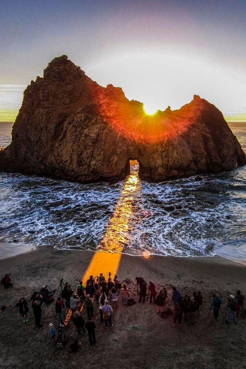 Keyhole Arch, Julia Pfeiffer Beach, Big Sur, California -- The sun shines through the arch only a few times a year.