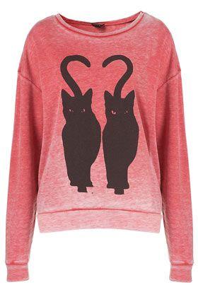 {Twin Cat Burnout Sweater} TopShop