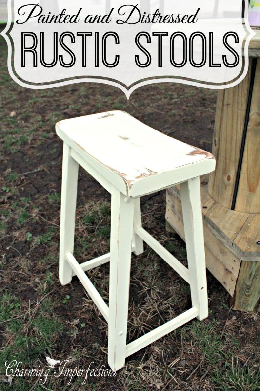 Painted Distressed Stools Coats Beautiful And Rustic