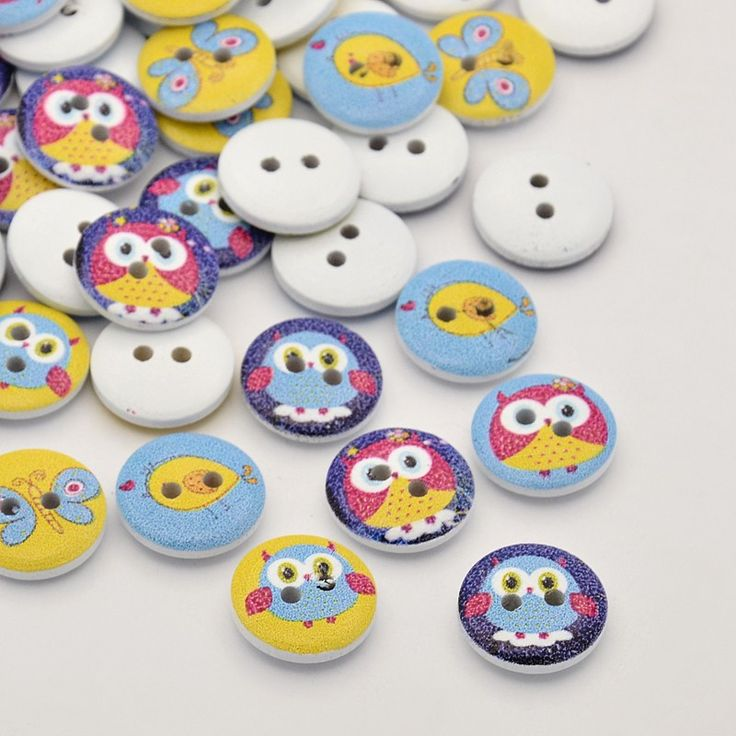 Flat Round 2-Hole Owl Printed Wooden Buttons, White, 15x3mm, Hol