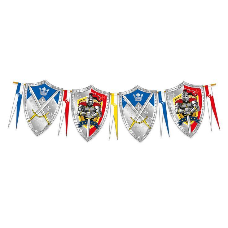 Met deze stoere vlaggenlijn in ridder thema maak je het kinderfeestje compleet. Afmeting: 6 meter - Vlaggenlijn Ridders, 6mtr.