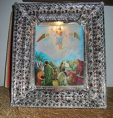 Vintage Religious Shadow BoxJesus Ascension 3D Hologram picture New in Box