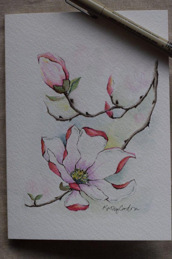 Vrij roze magnolia. Origineel alleen  Alleen origineel! Dit is een handgeschilderde aquarel wenskaart op 140 lbs. zuurvrij, Strathmore aquarel papier. Alle kaarten zijn ontworpen en geschilderd door mij. Dimensie van de kaart is 5 x 6⅞. Bijpassende envelop opgenomen.  Als u een afdruk van deze kaart, raadpleeg dan op de print aanbieding hieronder…