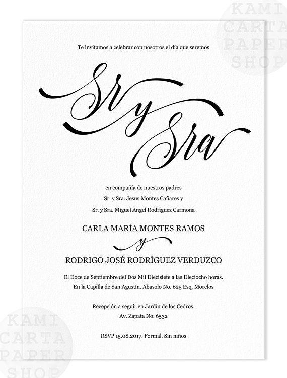 Invitaciones De Boda Spanish Wedding Invitation Invitacion Etsy Spanish Wedding Spanish Wedding Invitations Printing Center