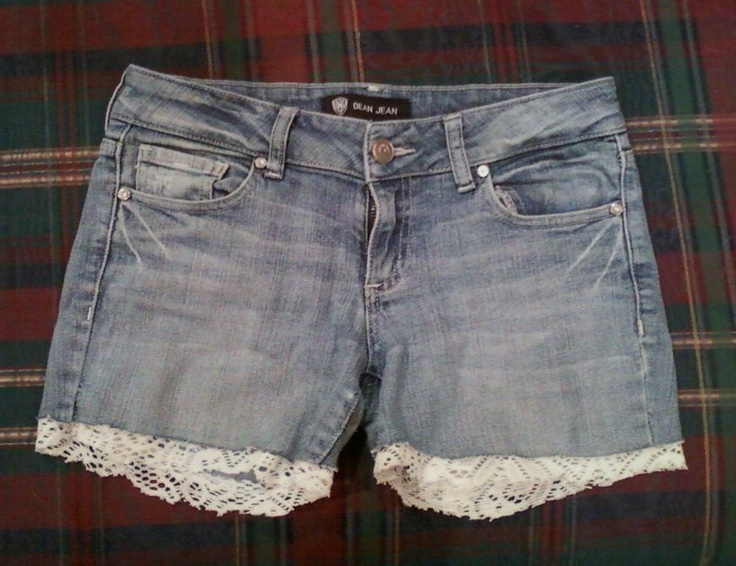 Recycled a few scraps of lace with this creation :]: Recycled Scrap, Jean Shorts, Jeans Loves, Diy Fashion, Fashion Diy, Recycled Lace So, Jeans Shorts, Lace Shorts, Old Jeans