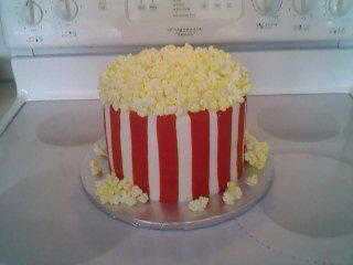 bag of buttered popcorn ~ my daughter made this cake for a school carnival