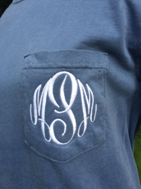 Comfort Colors Monogrammed Pocket Tshirt, Long Sleeve Pocket Tshirt, Monogram Pocket Tee, Soft Pigment Dyed pocket Tshirt by rebeccasthreads on Etsy