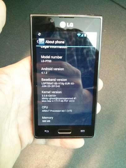 Finalmente disponibile Android 4.1.2 per LG Optimus L7, grazie al team Cyanogen.