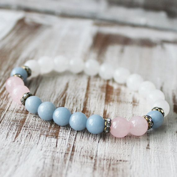 Peace Balance Angelite Rose Quartz Snow Quartz Yoga Mala Bracelet Wrist Mala Pastel Bracelet