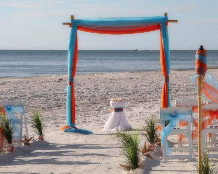 Our two post beach wedding arch in turquoise and orange