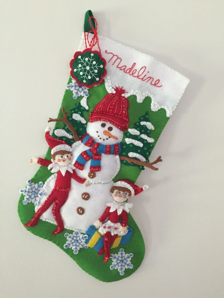 Christmas stocking for my granddaughter.  Made from Bucilla kit The Elf on the Shelf.