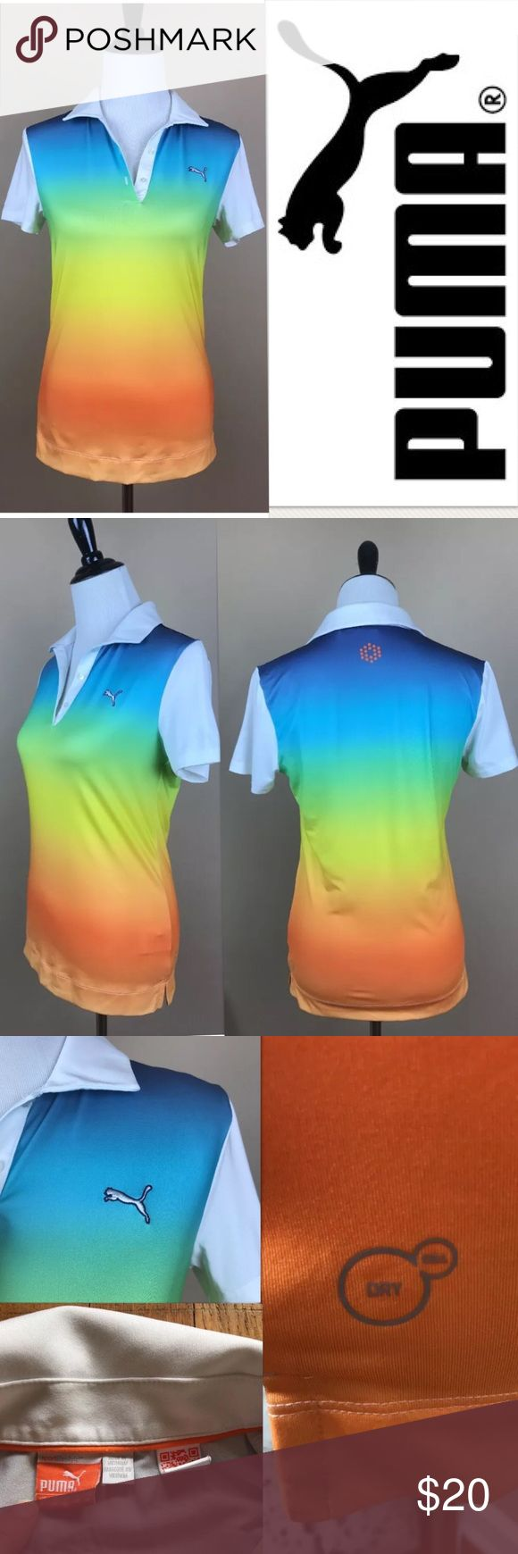 Sz S Puma Sport Lifestyle Polo Rainbow top shirt Brand: Puma   Size: small ( S )   Measurements: see photos (fabric has stretch)   Colors: gradient rainbow, blue, orange, yellow   Condition: no flaws noted    -----   I do have a dog that sheds. I lint roll prior to shipping, but it is good to be aware.   I live in a smoke free home Puma Tops