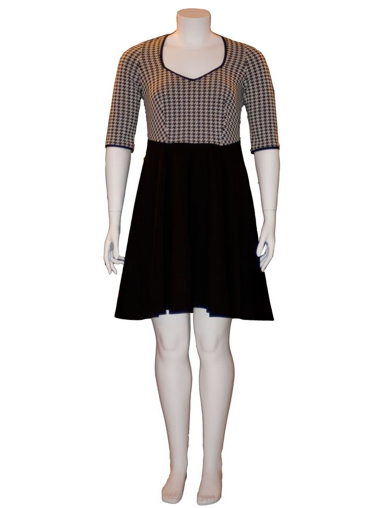 Klassisk 50'er kjole med hanefjed mønster #plus size