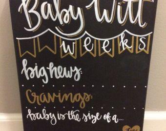 Weekly pregnancy Chalkboard / weeks pregnancy stats /