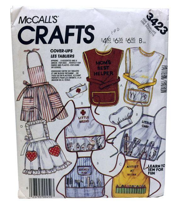 Vintage McCall's 3423 Kids Art Smock Pattern Kids by UpstairsAttic