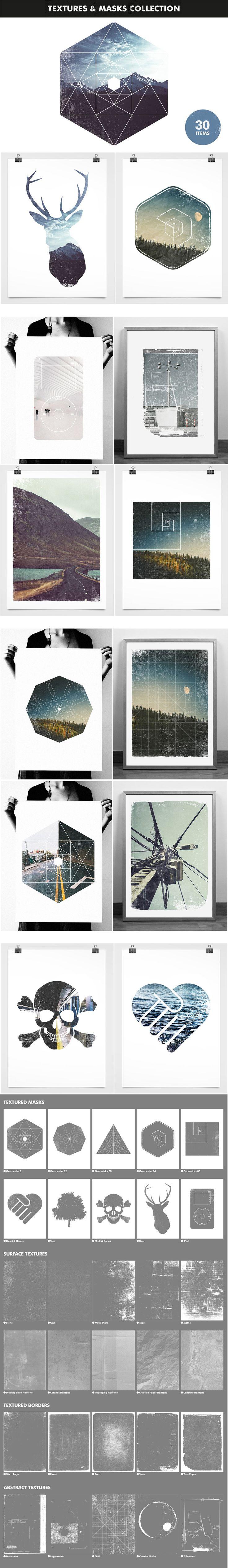 Textures and Image Masks Collection Modern Creative Design Bundle