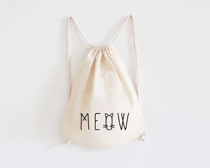 "Rucksack, Turnbeutel ""Meow"" // totebag, gymbag cat by  EULENSCHNITT via DaWanda.com"
