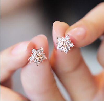 Stud Earring 2016 New Hot Sell Trendy Super Shiny CZ Diamond Ice Flower 925 Sterling Silver Earrings for Women Wholesale Jewelry