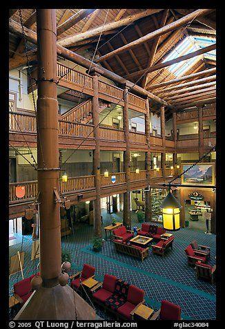 many glacier hotel, glacier ntl. park, Montana   Many Glacier Hotel lobby   My favorite lodge!