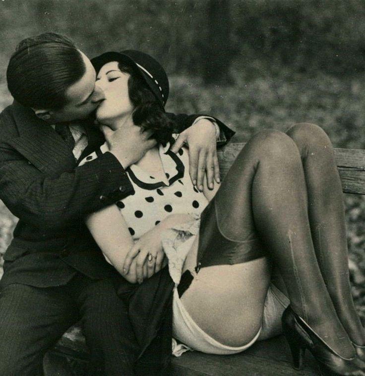 Saturday's Kiss ~ Pettin' in the Park…. 1920s risque Biederer Postcard