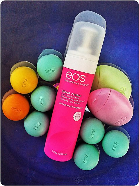 eos is the best:) eos lip balm, hand lotion, and shaving cream