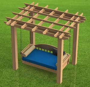 Hanging Patio Bed with Pergola Woodworking DIY Plans Build It Yourself | eBay