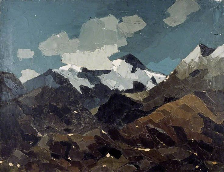 """Kyffin Williams, """"Snow and Cloud, Snowdonia"""", 1950–1970, Oil on canvas, 61 x 76.5 cm, Collection: Llyfrgell Genedlaethol Cymru / The National Library of Wales"""