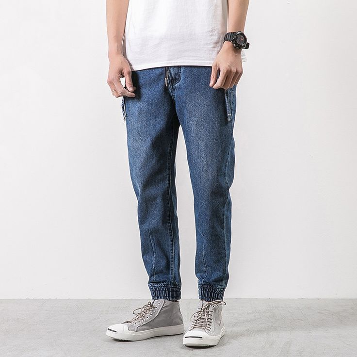 Mens Casual Denim Drawstring Tapered Cotton Jeans