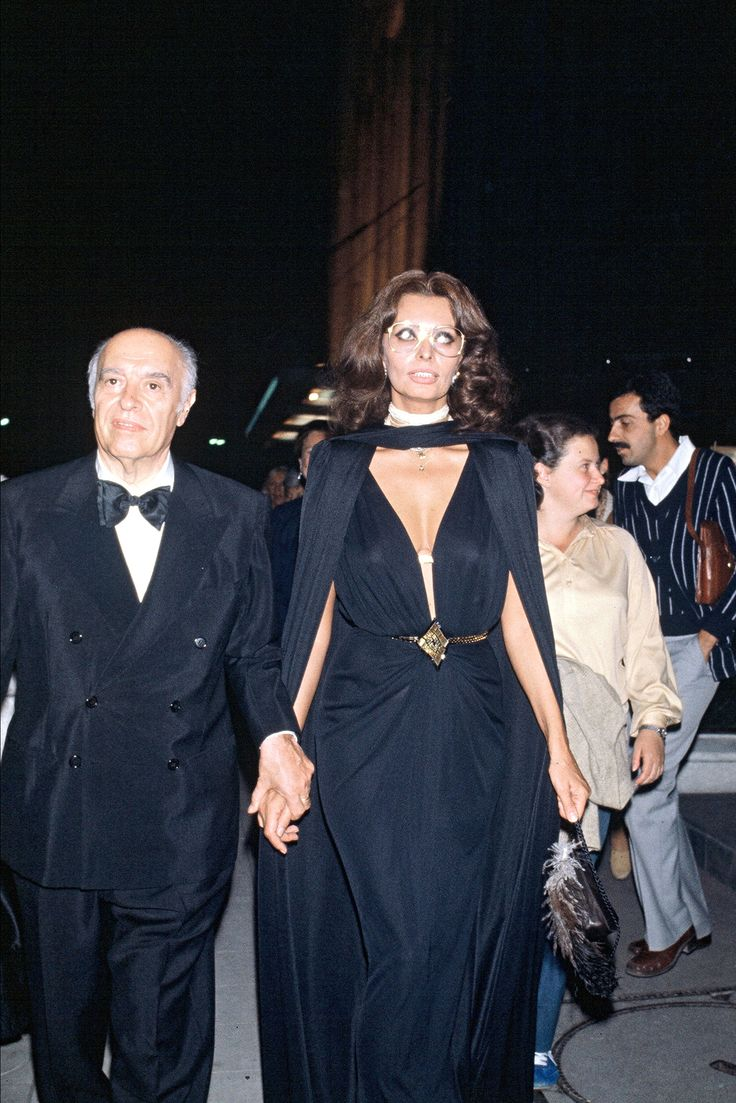 Carlo Ponti and Sophia Loren attend a party for Mikhail Baryshnikov, September 1979.