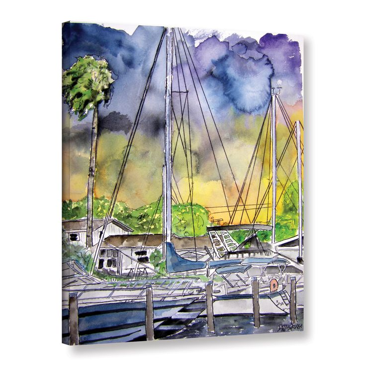 ArtWall Derek McCrea's 'Boat Marina' Gallery Wrapped Canvas