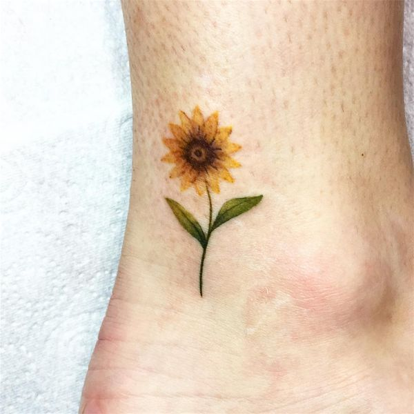 Cute Tiny Sunflower Tattoo On The Ankle Sunflower Tattoos Sunflower Tattoo Sunflower Tattoo Small