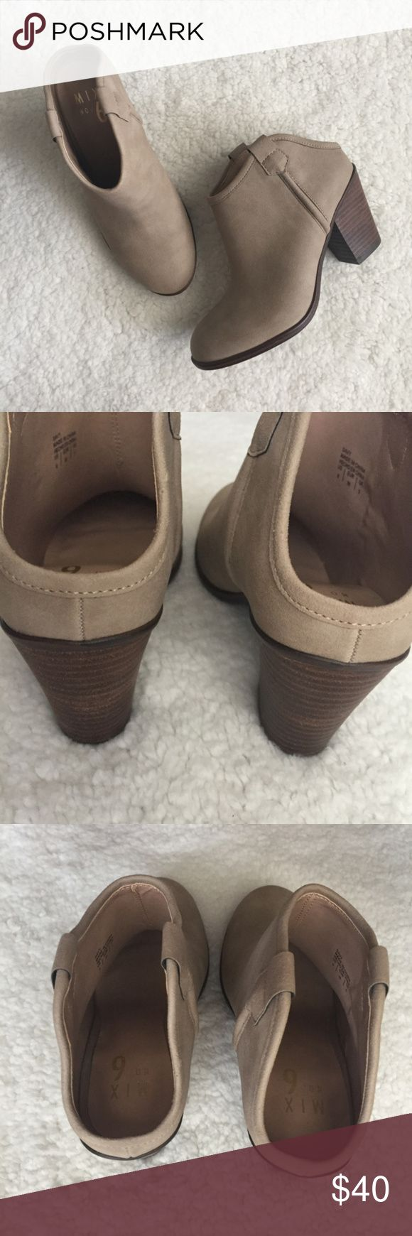 """Mix No 6 Women's Mule Inspired Booties SZ 6 Mix No 6 Women's Mule Inspired Western Taupe Booties Size 6  Unused, Faux suede upper, Side pull tabs, Round toe, Synthetic sole. Heel: 3"""" stack block. Last picture for style only.  11.25 Mix No. 6 Shoes Mules & Clogs"""