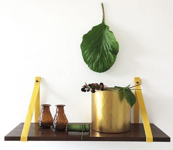Canvas plankdragers in goud geel van DEENS.NL eigen label zijn praktisch en betaalbaar. Shop hier jouw plankdragers in een kleur naar keuze!