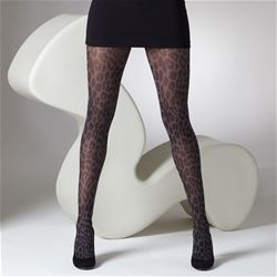 Gipsy animal print tights, black 40 denier.