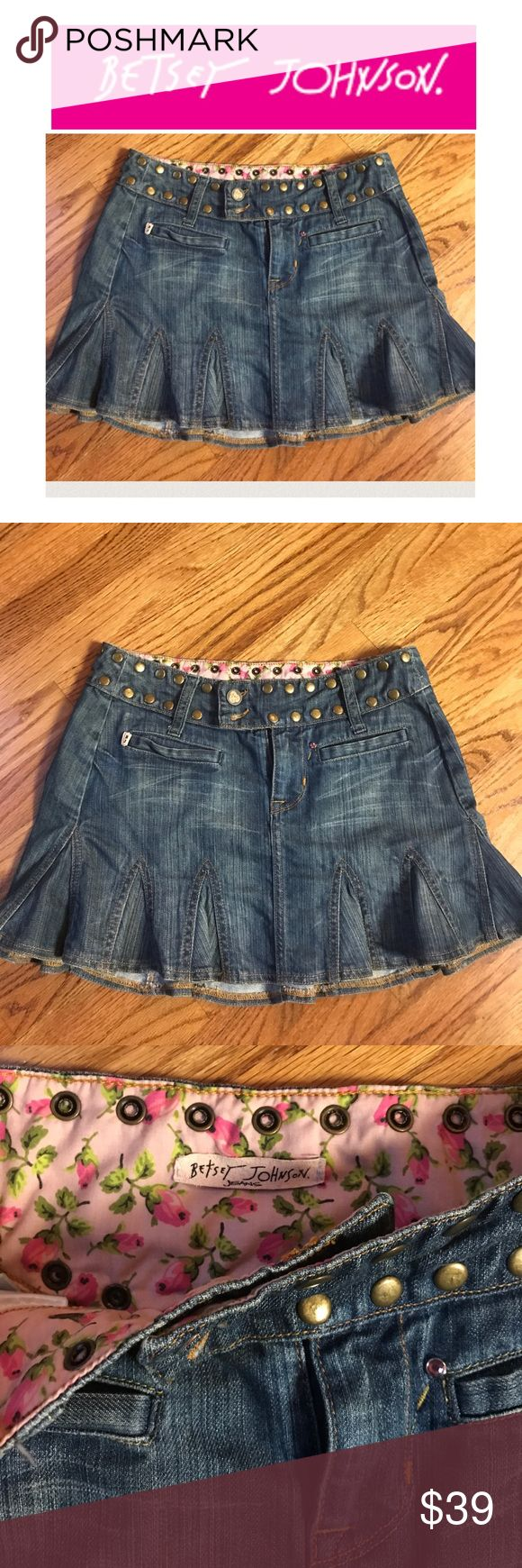 Betsy Johnson denim studded jean skirt Betsy Johnson denim studded cheerleader style jean skirt classic fun Betsy she would probably pair this with tights and a cute chunky shoe or wear this plain with sandals or a cute boot this is classic Betsy . Betsey Johnson Skirts Midi