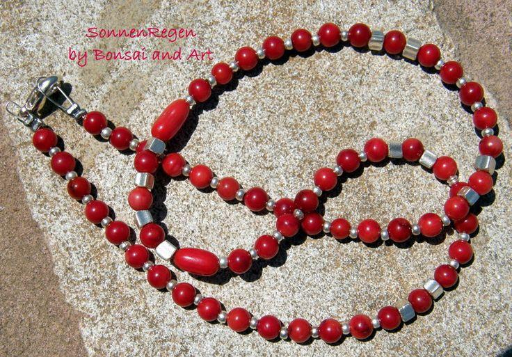 Ketten kurz - Halskette Koralle rot - ein Designerstück von SonnenRegenschein bei DaWanda